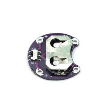 LilyPad Coin Cell Battery Holder with on/off switch for CR2032 batteries